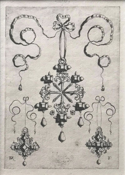 Daniel Mignot, 'Pendant with double Cross at Centre, surrounded by six large table-stones.  At bottom three drops, lower left and right two earrings with table-stones set in the form of a cross. ', 1595