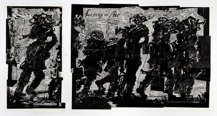 William Kentridge, 'Refugees diptych (1 God's Opinion is Unknown; 2 Leaning on Air) from Triumphs and Laments Woodcuts', 2018-2019