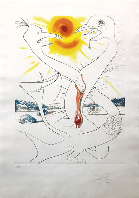 Salvador Dalí, 'THE CADUSEUS OF MARS NOURISHED BY THE BALL OF FIRE OF JUPITER', 1974
