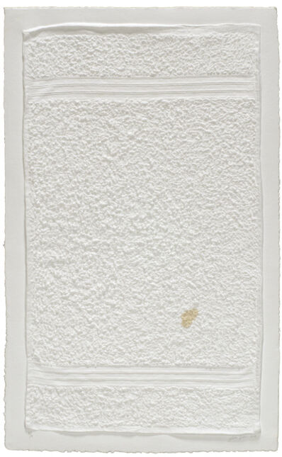 Analía Saban, 'Three Stripe Hand Towel (with Stain)', 2014