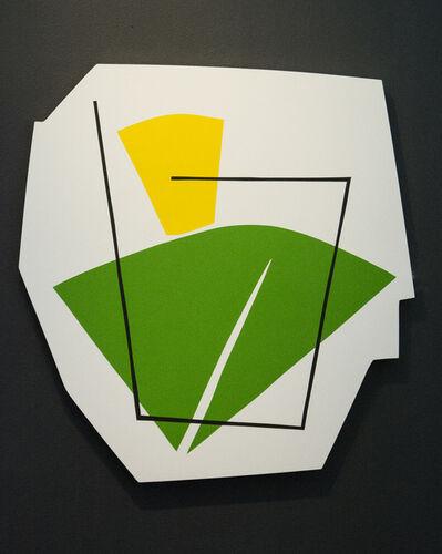 Aron Hill, 'Green & Yellow Shape - fun, colourful, gold leaf edge, acrylic on shaped panel', 2017