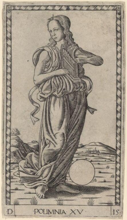 Master of the E-Series Tarocchi, 'Polimnia (Polyhymnia)', ca. 1465