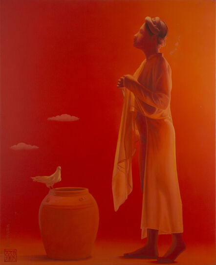 Tran Huy Hoan, ''Peaceful Dove' Red Monochromatic Painting, Female Figure', 2012