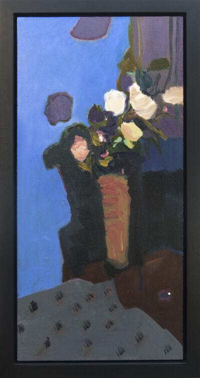 Jennifer Hornyak, 'Rose Blanche Avec Nappe - elegant textured florals, blue, orange, still life oil', 2017