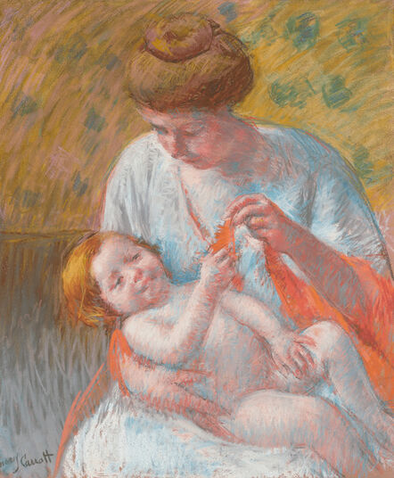 Mary Cassatt, 'Baby Lying on his Mother's Lap, Reaching to Hold a Scarf', ca. 1914