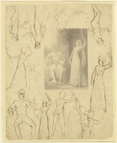 Thomas Stothard, 'Design for a Book Illustration and Related Studies [recto]'