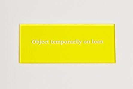 Anna Blessmann and Peter Saville, 'Object temporarily on loan', 2013