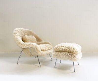 Eero Saarinen, 'Womb Chair and Ottoman, Restored in California Sheepskin', mid 20th century-newly restored