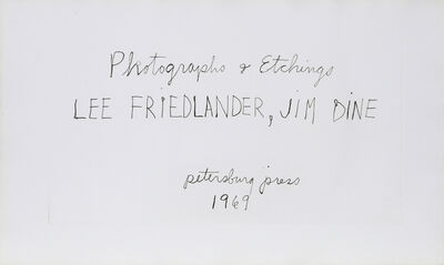 Jim Dine, 'Photographs and Etchings', 1969