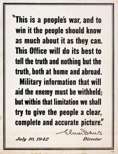 Unknown, 'Elmer Davis War Quote', 1942