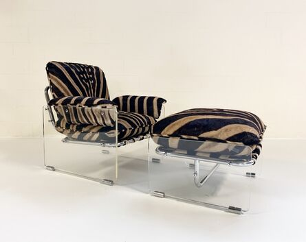 Pace Collection, 'Argenta Lucite and Chrome Lounge Chair and Ottoman Restored in Zebra Hide', 1970s