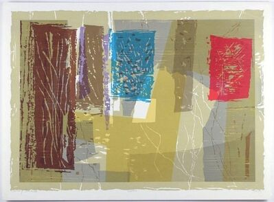 Seong Moy, 'Court of Solitude Chinese American Modernist Abstract Color Woodcut', 1970-1979