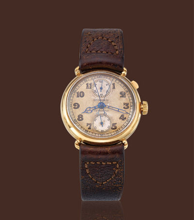 Patek Philippe, 'Yellow gold split-second mono-pusher chronograph'