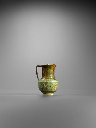 Unknown Roman, 'Ancient Roman Faience Oinochoe with a Vine Branch in Relief', 1st century A.D., Roman, Ro, Imperial.
