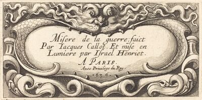 """Abraham Bosse, 'Title Page for Callot's """"The Small Miseries of War""""', 1636"""
