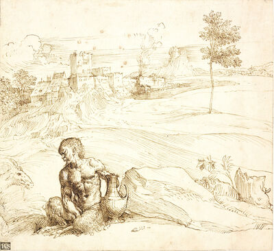 Attributed to Titian, 'Landscape with a Satyr', ca. 1500
