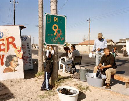David Goldblatt, 'At Kevin Kwanele's Takwaito Barber, Lansdowne Road. Khayelitsha, Cape Town, in the time of AIDS', 2007