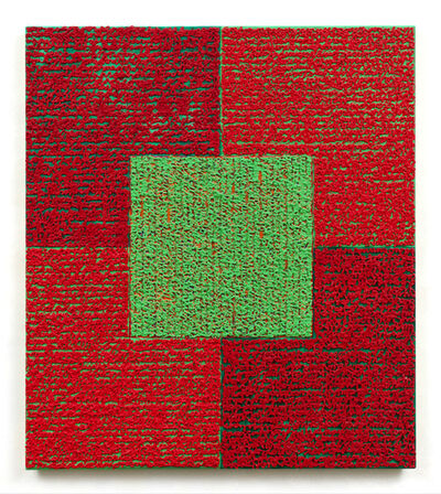 Louise P. Sloane, 'Green Square With Reds', 2010