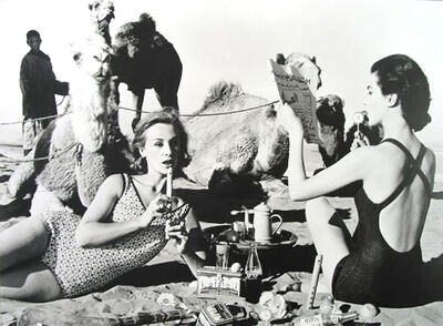 William Klein, 'Tatiana, Mary Rose and Camels, Picnic, Morocco', 1958