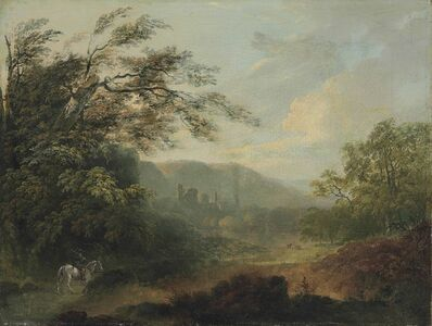 Attributed to Julius Caesar Ibbetson, 'Landscape with a traveler on horseback and ruins in the distance'
