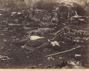 Alexander Gardner, 'A Sharpshooter's Last Sleep, Gettysburg, Pennsylvania, July 1863', 1863