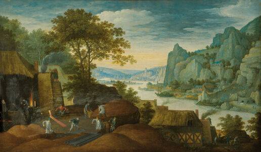 Martin Ryckaert, 'A Rocky Landscape with Figures, Houses and an Iron Foundry by the Scheldt River', 1601