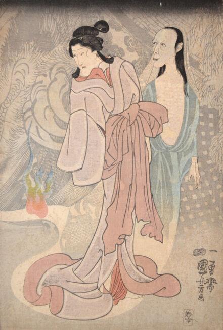 Utagawa Kuniyoshi, 'Strolling Ghosts, Cat Ghost Behind', ca. 1850
