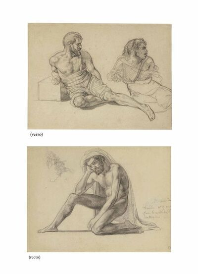 Théodore Géricault, 'Study for the father in the Raft of the Medusa (recto); Two studies for the figure seated at the foot of the mast (verso)'