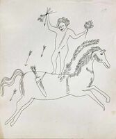 Andy Warhol, 'In the Bottom of My Garden Study Drawing (Man on Horse)', ca. 1955