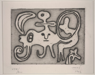 Joan Miró, 'Woman and Bird in Front of the Moon (Femme et oiseau devant la lune) from Laurels number 1', 1947