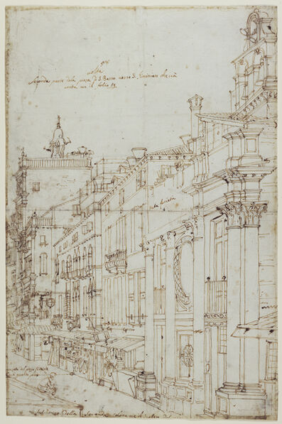 Canaletto, 'The Campo S. Basso: The North Side with the Church (recto), A Market Scene (verso)', 1740