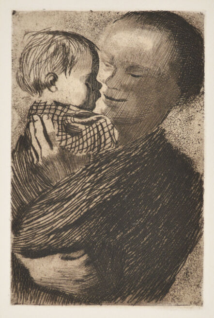 Käthe Kollwitz, 'Mother Holding Child in Her Arms', 1910