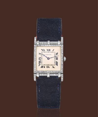 Cartier, 'Platinum square-shape mobile lugs diamond-set case manual wind movement'