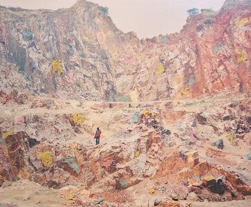 Vasantha Yogananthan, 'The Quarry Munger, Bihar, India', 2014 (painted in 2020)