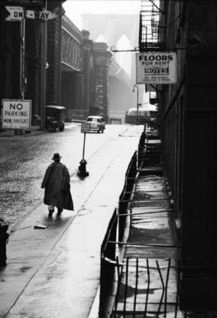 Erich Hartmann, 'Man walking toward Brooklyn bridge', 1955
