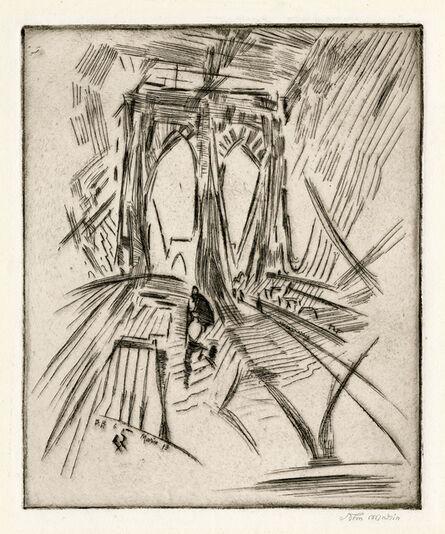 John Marin (1870-1953), 'Brooklyn Bridge No. 6 (Swaying), a proof before steelfacing', 1913