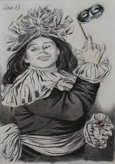 Enrique Grau, 'Mujer con antifaz y copa', 1973