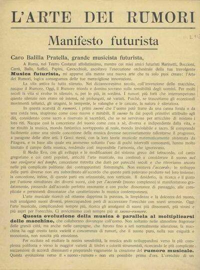 "Luigi Russolo, '""The Art of Noises: Futurist Manifesto"" (""L'arte dei rumori: Manifesto futurista"") ', 1913"