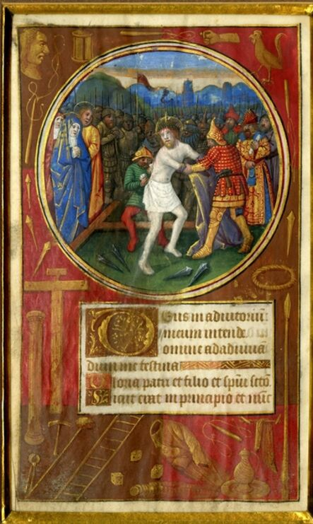 Follower of Jean Bourdichon and Jean Poyer, 'The Disrobing of Christ, on a leaf from a Book of Hours ', c. 1490-1500