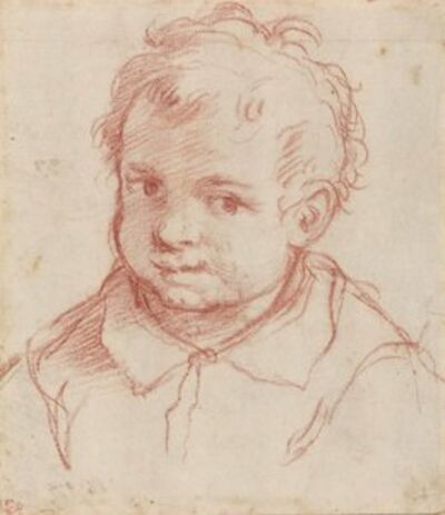 Giovanni Battista Carlone, 'Portrait of a young boy, bust-length (recto), Two studies of heads (verso)'
