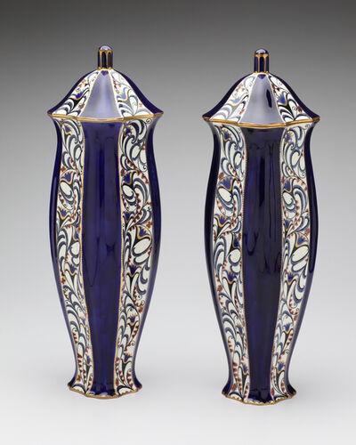 Ernst Wahliss, 'Serapis Blue Blossoms Vase Pair', ca. 1912