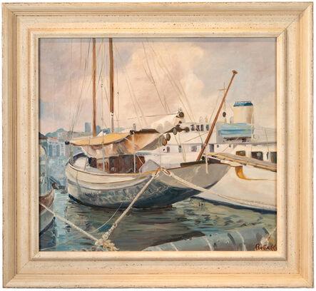 Reba K, ''Sailboats at Dock,' by Reba K., Oil on Canvas Painting', ca. 1980