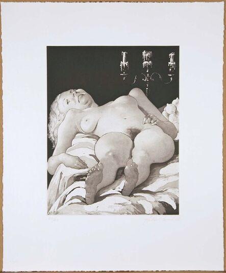 John Currin, 'Nude on a Table', 2002
