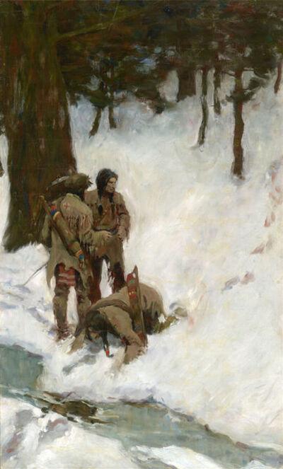 N.C. Wyeth, 'Untitled (Three Indians at a Stream in Snowy Woods)', ca. 1904