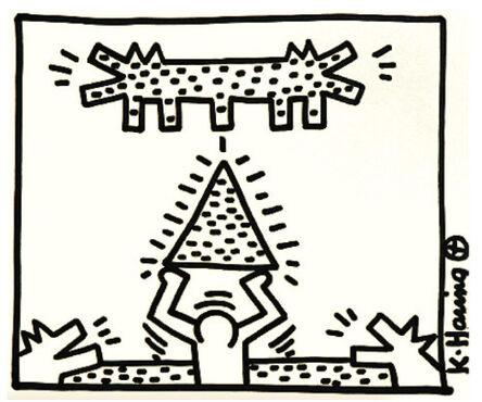 Keith Haring, 'Men, Pyramid, Double Headed Barking Dog', 1983