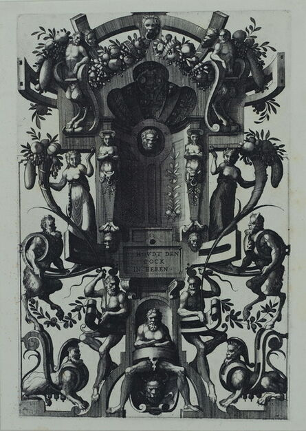 Cornelis Floris II, 'Grotesque with strapwork, in the form of a cartouche', 1557