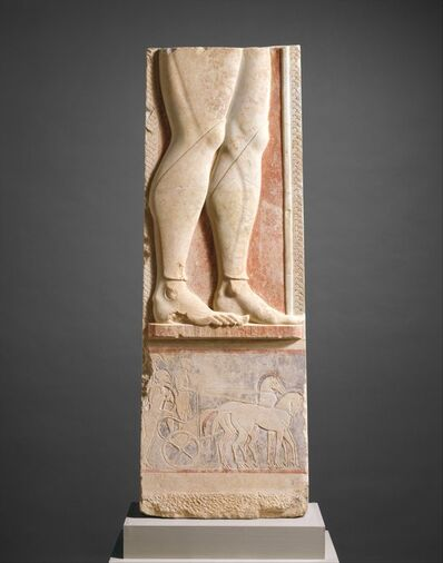 Unknown Greek, 'Fragment of the marble stele (grave marker) of a hoplite (foot soldier)', ca. 525–515 B.C.