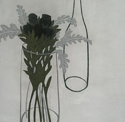 Angela A'Court, 'Grey Leaves with Deep Red Roses ', 2012