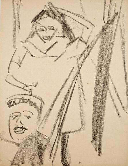 Ernst Ludwig Kirchner, 'Stehende Fränzi und Mann in Hängematte', 1910