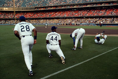 Steve McCurry, 'Kal Daniels, Darryl Strawberry, and Gary Carter, Dodgers Stadium, Los Angeles', 1991